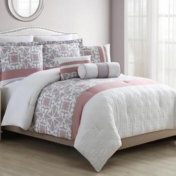 Darla Gray/Pink Medallion Comforter Set, 8-Piece
