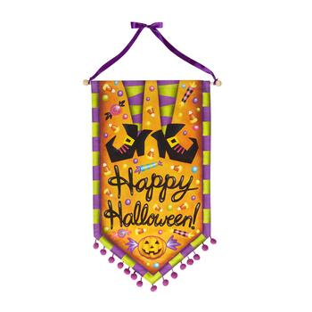 "37.5"" ""Happy Halloween"" Witch's Feet Canvas Banner with Pom-Poms"