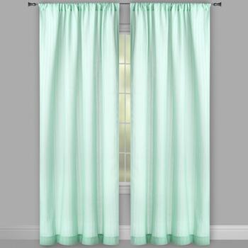 "84"" Solid Shadow Stripe Semi-Sheer Window Curtains, Set of 2 view 2"