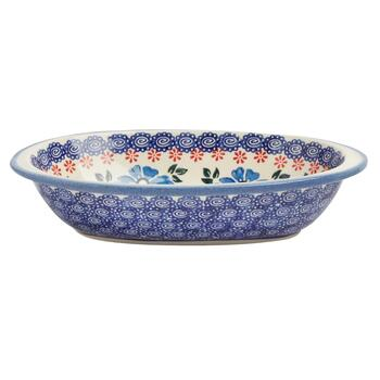 Polish Pottery Blue/Red Floral Oval Vegetable Bowl