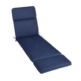 Solid Dark Blue Woven Indoor/Outdoor Hinged Chaise Chair Pad view 1