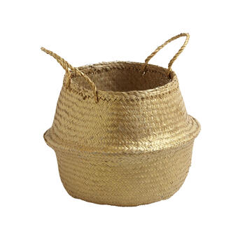 "14.75"" Metallic Seagrass Storage Basket with Handles view 1"