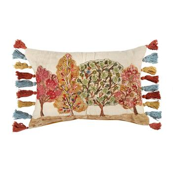 Beaded Trees Tassel Oblong Throw Pillow