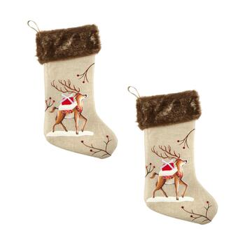 Holiday Reindeer Burlap Stockings with Faux Fur Cuff, Set of 2