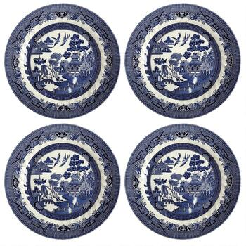 Blue Willow Imperial Decorative Dinner Plates, Set of 4