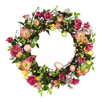 Pink Petunia and Egg Wreath