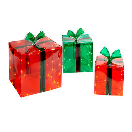 Indoor/Outdoor Light-Up Holiday Gift Boxes Set