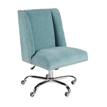 Aqua Rolling Office Chair with Nailheads