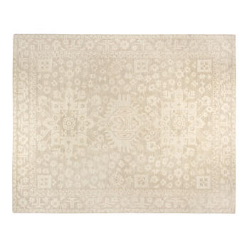 8'x10' Beige Florals Traditional Wool Area Rug view 1