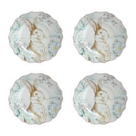 Bunny and Blossoms Scalloped Ceramic Salad Plates, Set of 4 view 1