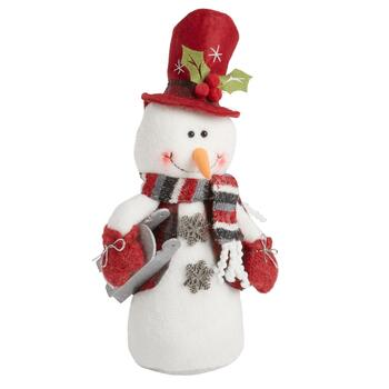 "20"" Heavy Bottom Plush Sitting Snowman with Sled"
