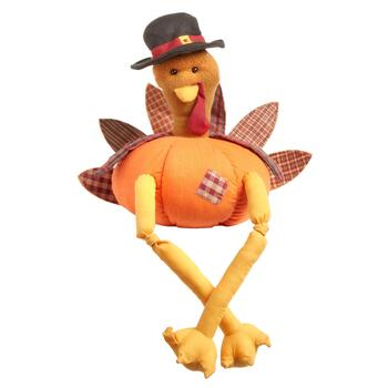 "12"" Plush Pumpkin Turkey Sitter"