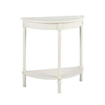 "28.5"" Ivory Half Round Console Table"