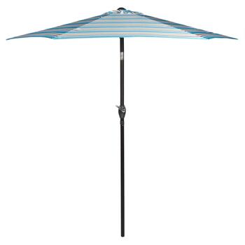 7.5' Teal/Tan/White Striped Crank/Tilt Market Umbrella