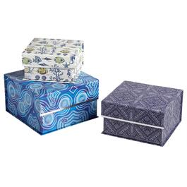 Blue/Purple/Cream Tide Square Storage Boxes, Set of 3