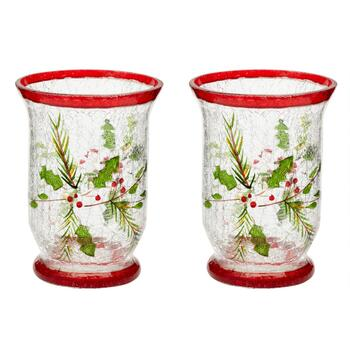 Holly Berry Glass Hurricanes, Set of 2