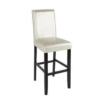 Solid White Stewart Upholstered Barstool with Nailheads