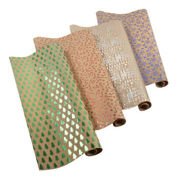Foil-Stamped Wrapping Paper Rolls, Set of 4 view 1
