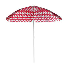 7' Red/White Zigzag Striped Beach Umbrella view 1