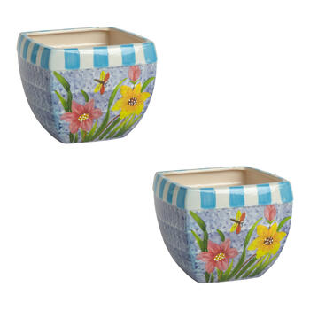 "6.5"" Blue/Pink/Yellow Flowers Square Planters, Set of 2 view 1"