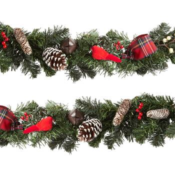 6' Plaid Bows, Pinecones and Berries Garland