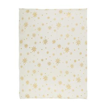 "50""x60"" Gold Metallic Snowflakes Throw Blanket"