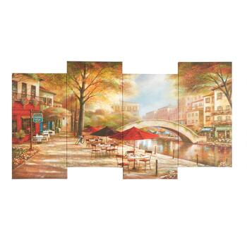 "8""x38"" Bridge Cafe Staggered Canvas Wall Art"