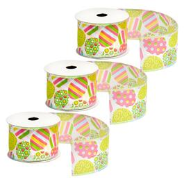 10-Yard Patterned Eggs Wired Ribbons, Set of 3