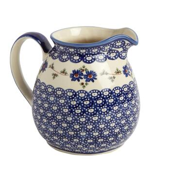 Polish Pottery Floral Chain Drink Pitcher