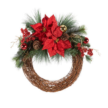 "24"" Shiny Ornaments Twig Wreath with Poinsettias view 1"
