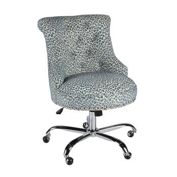 Blue Leopard Upholstery Rolling Office Chair with Nailheads view 1