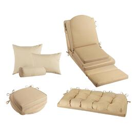 Solid Beige Indoor/Outdoor Chair Pads Collection