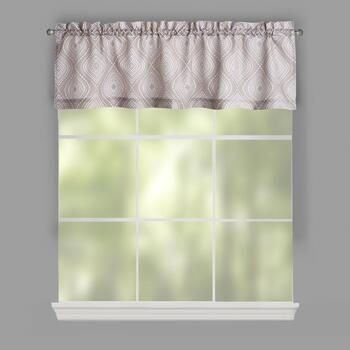 Brown/White Camber Geometric Window Valances, Set of 2