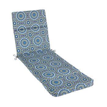 Blue Medallion Indoor/Outdoor Hinged Chaise Chair Pad view 1