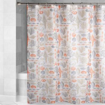 Orange Seashells Shower Curtain