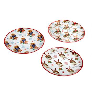 """Bark & Be Merry"" Holiday Dogs Melamine Salad Plates, Set of 3"