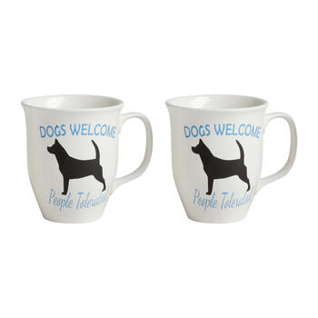 """Dogs Welcome People Tolerated"" Mugs, Set of 2 view 1"