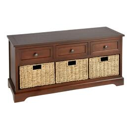 Hannah Walnut 3-Drawer/3-Basket Storage Bench