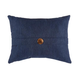 Solid Dark Blue Woven Indoor/Outdoor Oblong Throw Pillow with Button view 1