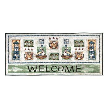 "24""x60"" Coastal ""Welcome"" Tapestry Runner Rug"