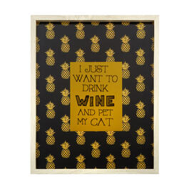 "17""x21"" ""I Just Want to Drink Wine and Pet My Cat"" Gold Foil Framed Wall Decor view 1"