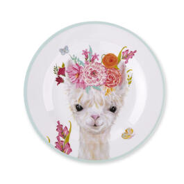 Kids Llama Floral Dinner Plate view 1