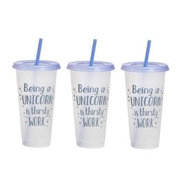 "7"" Purple ""Being a Unicorn Is Thirsty Work"" Tumbler To-Go Cups, Set of 6"