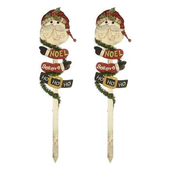 "40"" ""Ho Ho Ho"" Santa Wooden Yard Stakes, Set of 2"