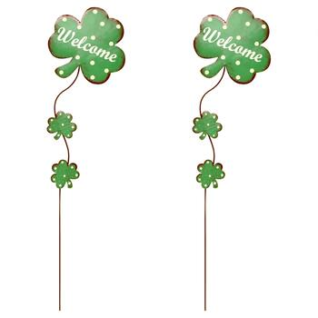 """Welcome"" Polka Dot Metal Shamrock Stakes, Set of 2"