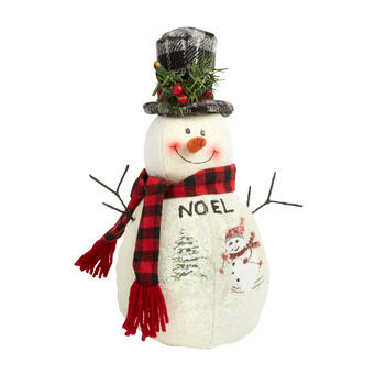 "11"" ""Noel"" Top Hat Scenic Snowman Decor"