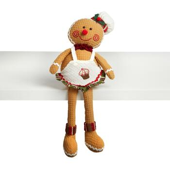 "17.5"" Dangling Leg Gingerbread Baker with Apron"