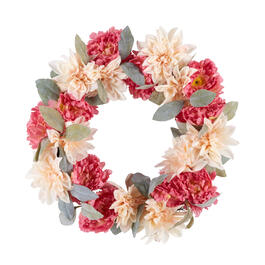 "21"" Artificial Dahlia Blossom Wreath view 1"
