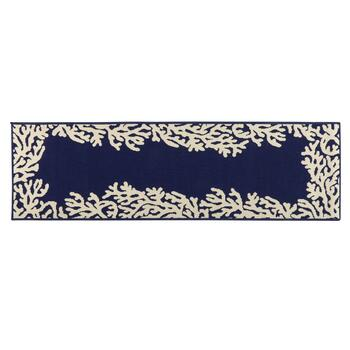 Dark Blue Coral Reef All-Weather Area Rug view 2 view 3 view 4
