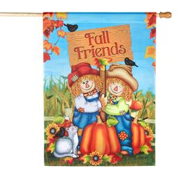 "28""x40"" ""Fall Friends"" Scarecrow Couple Yard Flag"